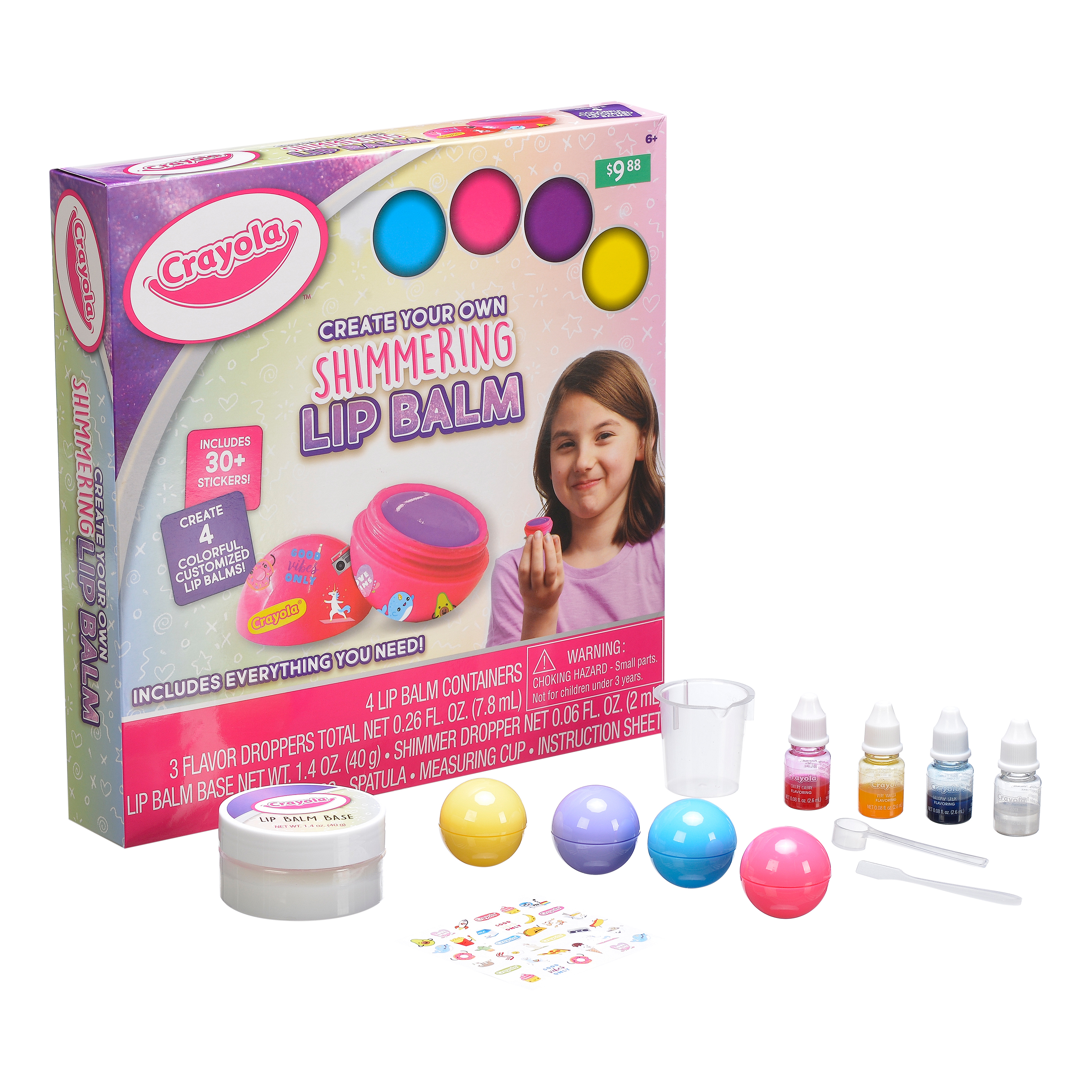 Crayola Create Your Own Shimmering Lip Balm Activity Kit, Gifts For Kids