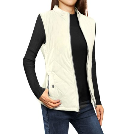 Women's Zip Up Front Stand Collar Lightweight Quilted Padded Vest Coat Off White XL (US 18)