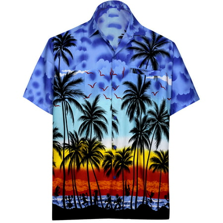 Hawaiian Shirt Mens Beach Aloha Camp Party Casual Holiday Short Sleeve Button Down Pocket Tropical Palm Tree Print U