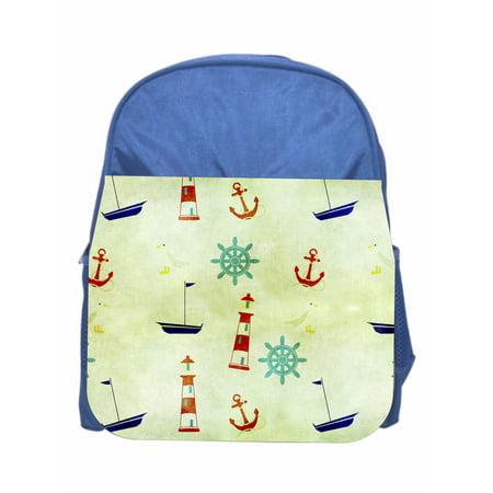 Nautical Print Boys Blue Preschool Toddler Childrens Backpack & Lunchbox](Nautical Backpack)