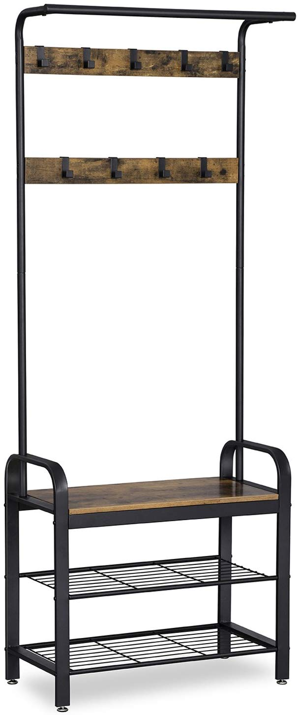 Accent Furniture with Steel Frame Hall Tree Entryway Shoe Bench VASAGLE DAINTREE Coat Rack Greige and Black UHSR41MB Industrial Storage Shelf Organizer