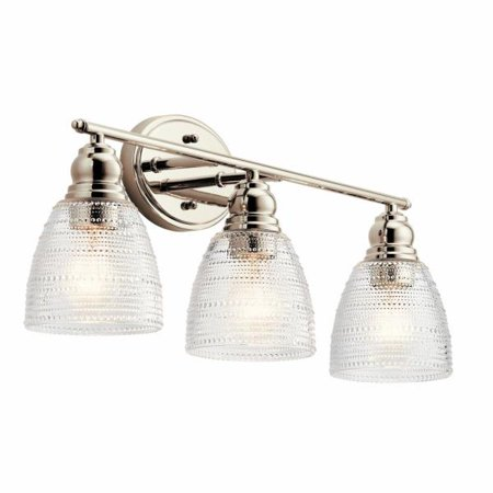 Kichler Nickel Bathroom Bulbs (Kichler Lighting Karmarie - Three Light Bath Vanity, Polished Nickel Finish with Clear Dot Glass)