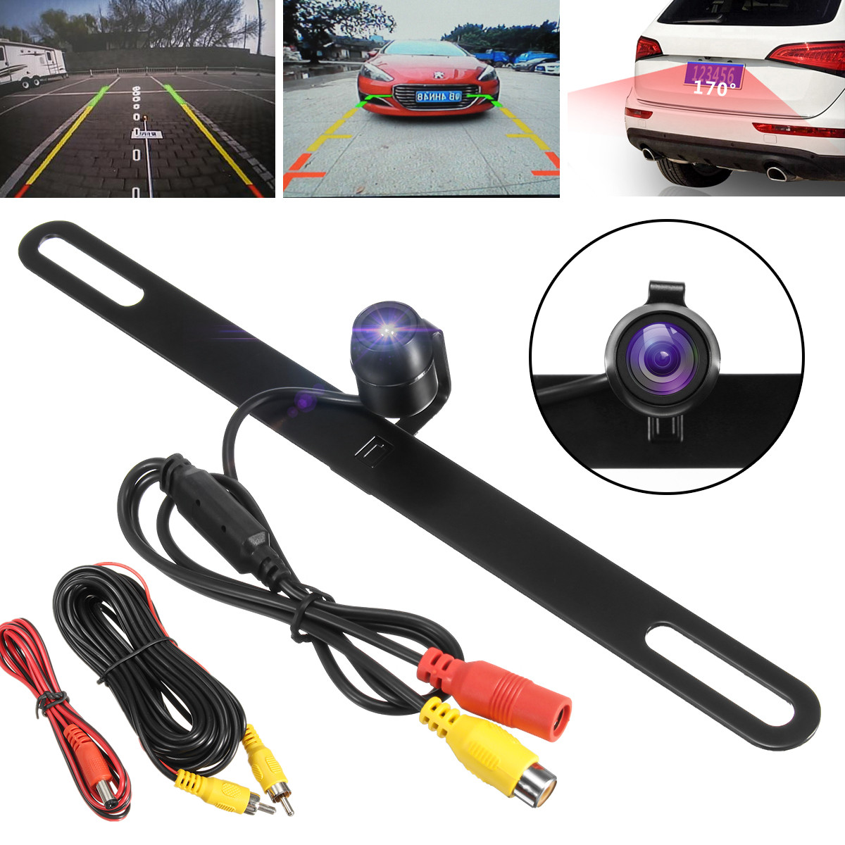 170° Waterproof Car Reverse Camera License Plate Rearview Mirror Night Vision Wide Angle With 520 TV Lines