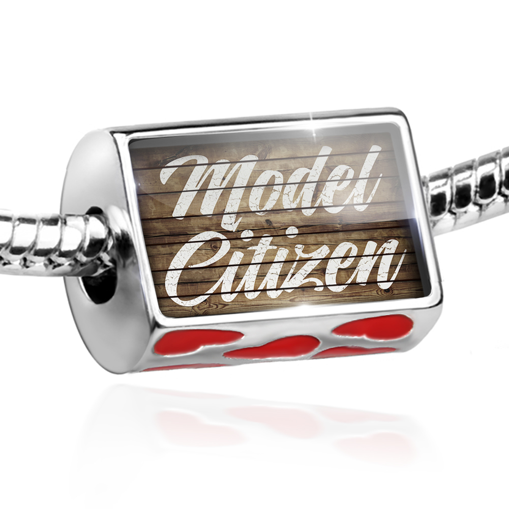 Bead Painted Wood Model Citizen Charm Fits All European Bracelets