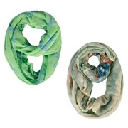 Peach Couture All season Infinity Loop Scarves Bold Anchor Print Green 2 Pack
