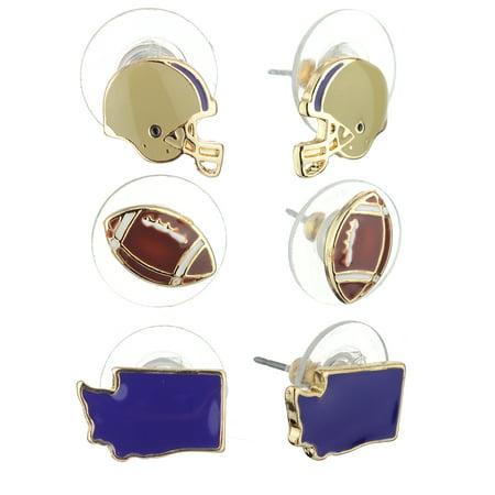 Women's Epoxy Enamel College Football State Theme Set Pierced Stud Earrings, Washington, Purple/Gold-Tone - College Football Themes