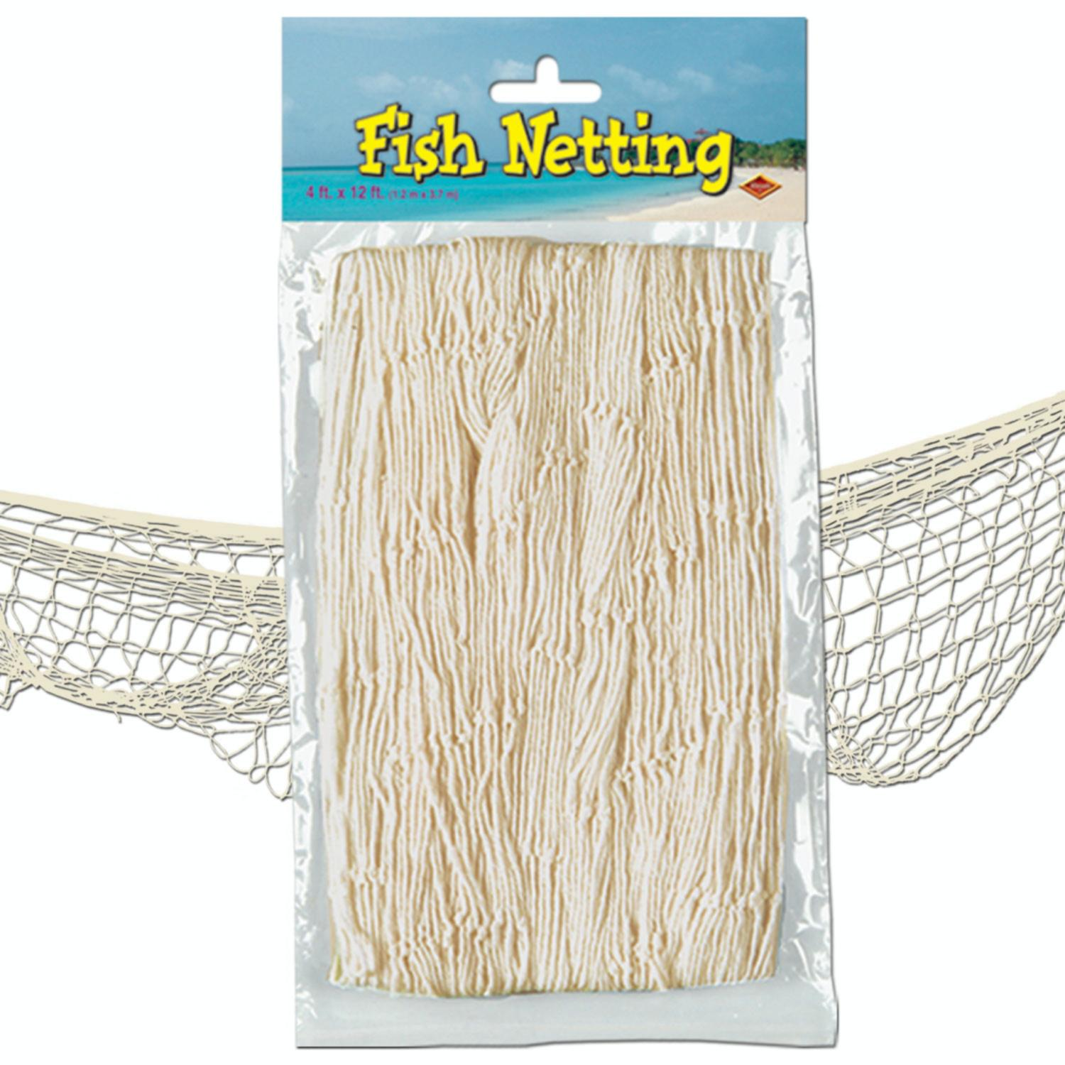 Pack of 12 Under the Sea Tropical Natural White Fish Netting Hanging Party Decor 12'