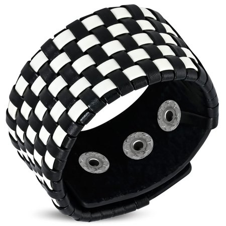 Genuine Black & White Leather Basket Weave Grid Checker Snap Wristband Bracelet - Snap Wristbands