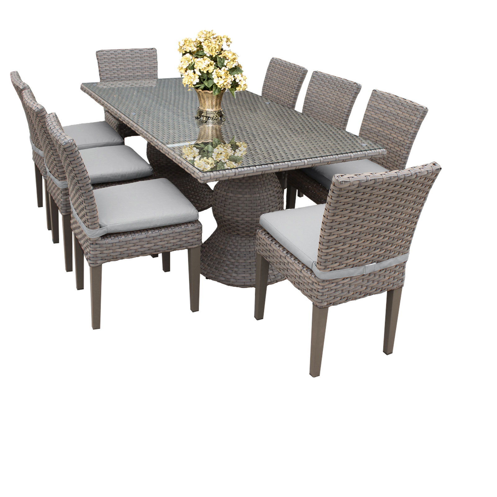 Harmony Rectangular Outdoor Patio Dining Table With 8 Chairs