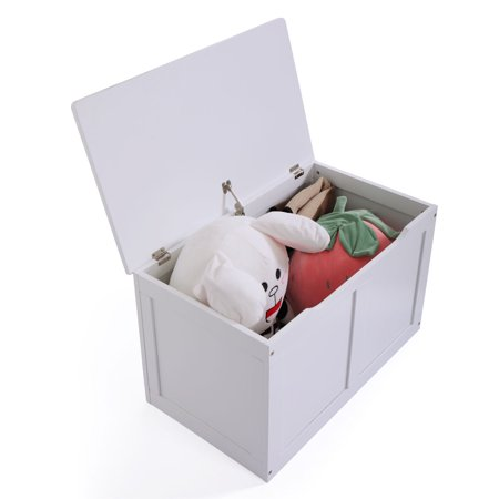 - White Toy Storage Chest Box MDF Entryway Bench Kids Furniture Playroom