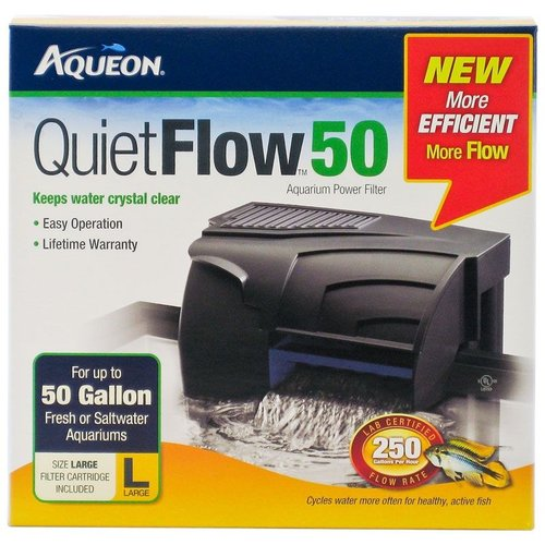 Aqueon QuietFlow Power Filter QuietFlow 50 - 250 GPH - (Aquariums up to 50 Gallons)
