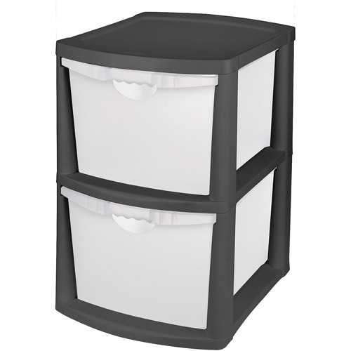 Sterilite Large 2 Drawer Unit- Black