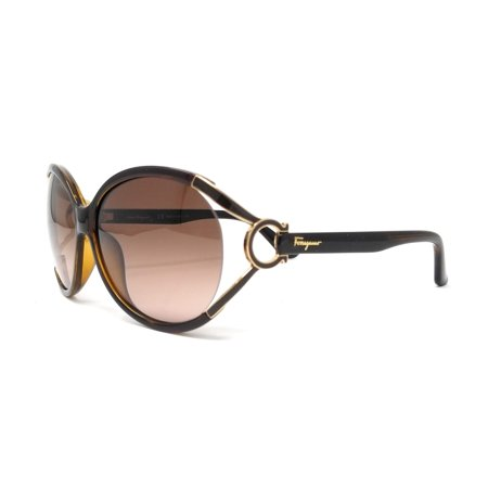 Salvatore Ferragamo Sunglasses SF600S 220 Pearl Dark Brown Oval (Ferragamo Sunglasses Womens)