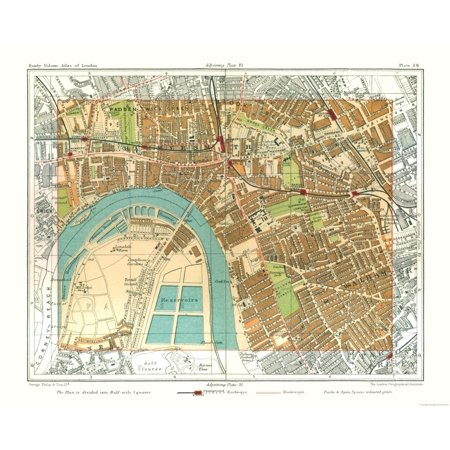 Old Great Britain Map Hammersmith London Philips 1904 28 39 X