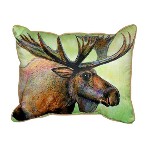 Betsy Drake Interiors Lodge Moose Indoor/Outdoor Lumbar Pillow