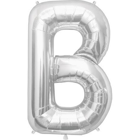 Letter B - Silver Helium Foil Balloon - 34 inch