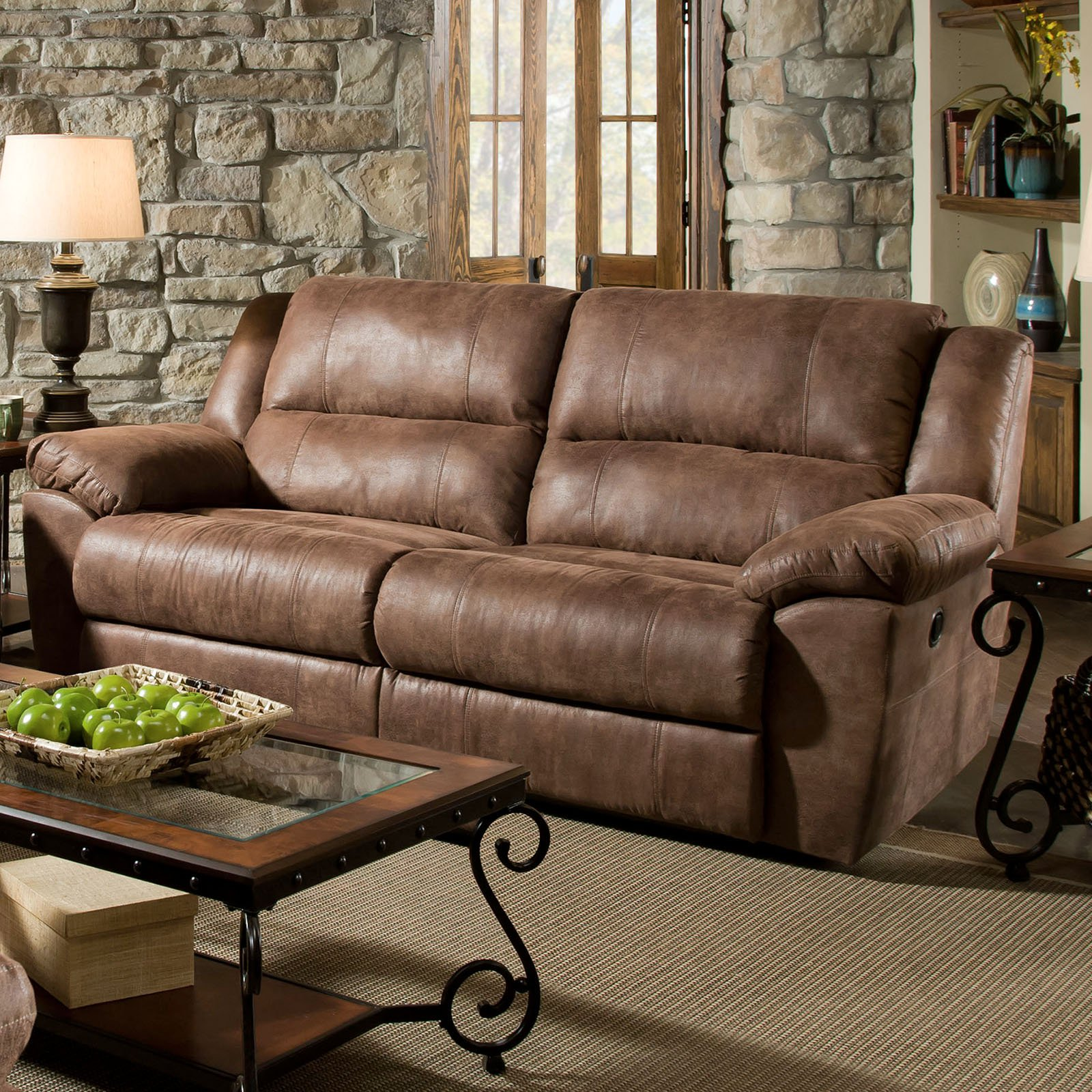 Simmons Upholstery Phoenix Double Motion Sofa - Mocha : brown suede sectional - Sectionals, Sofas & Couches