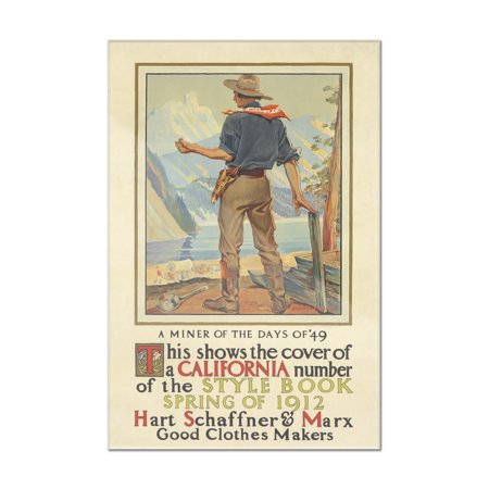 1912 Artist Signed (Hart Schaffner & Marx - California Style Book Vintage Poster (artist: Penfield) USA c. 1912 (8x12 Acrylic Wall Art Gallery)