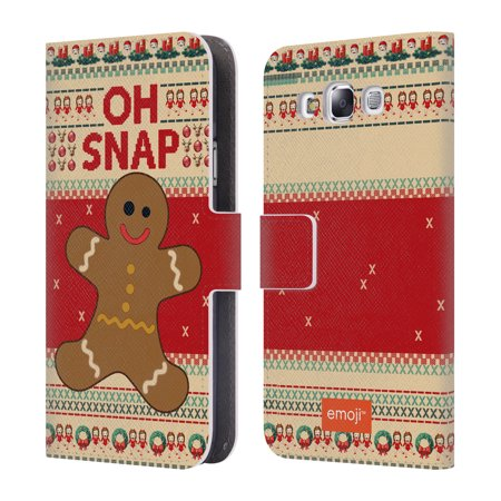 Gingerbread Emoji (OFFICIAL EMOJI UGLY CHRISTMAS LEATHER BOOK WALLET CASE COVER FOR SAMSUNG PHONES)