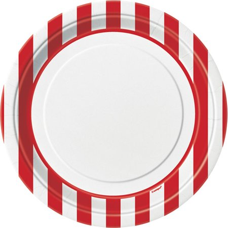 """9"""" Striped Paper Dinner Plates, Red, 8ct"""