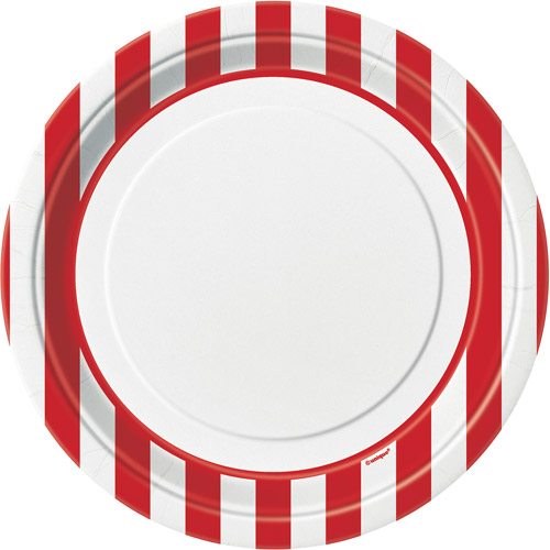 "9"" Striped Paper Dinner Plates, Red, 8ct"