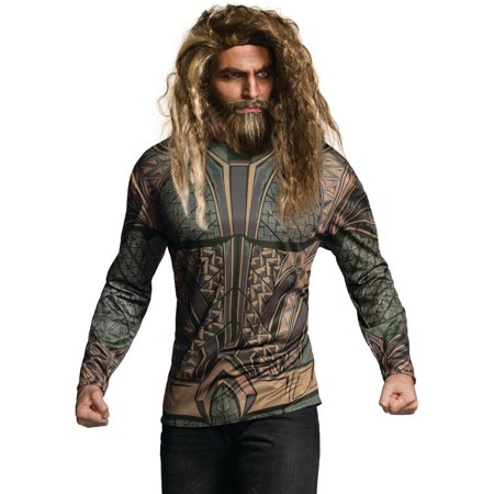 Justice League Mens Aquaman Dc Superhero Adult Costume Top Shirt - Superhero Costumes Adults