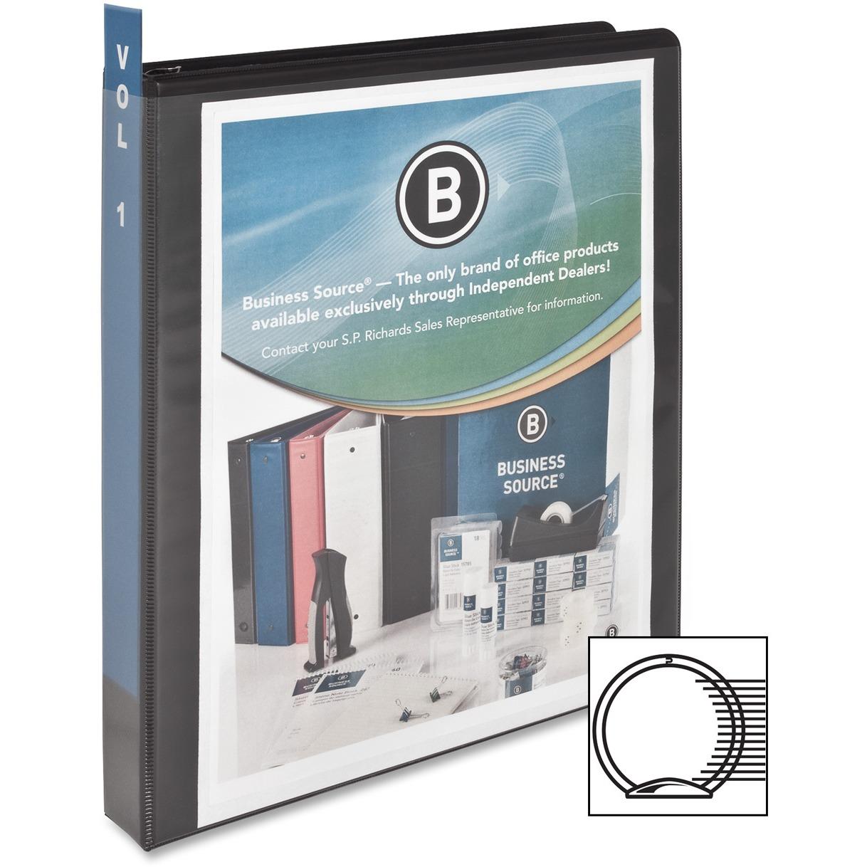 Business Source, BSN09952CT, Round-ring View Binder, 12 / Carton, Black