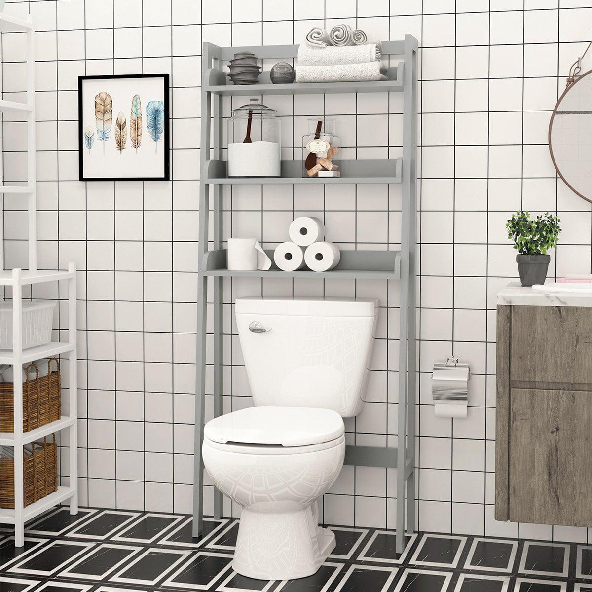 Utex 3 Shelves Bathroom Space Savers Over Toilet Storage Shelf Free Standing Bathroom Shelf Organizers Gray Walmart Com Walmart Com