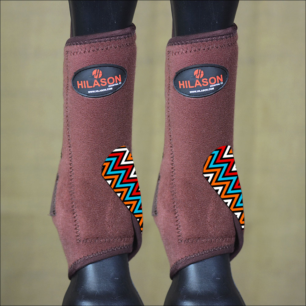 LARGE HILASON HORSE FRONT LEG PROTECTION ULTIMATE SPORTS BOOTS BROWN AZTEC