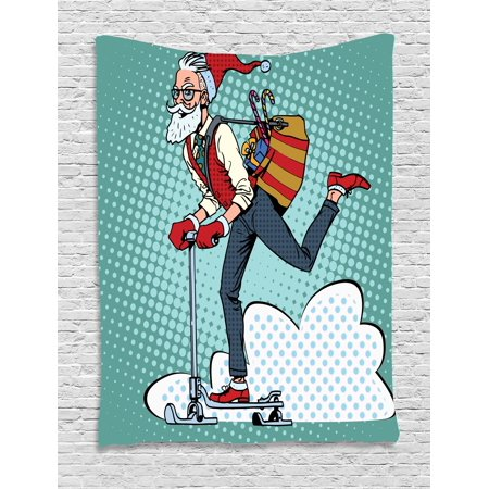 Indie Tapestry, Pop Art Scenery with Hipster Santa Claus on Scooter with Gift Bag Christmas Theme, Wall Hanging for Bedroom Living Room Dorm Decor, 40W X 60L Inches, Teal Red Blue, by
