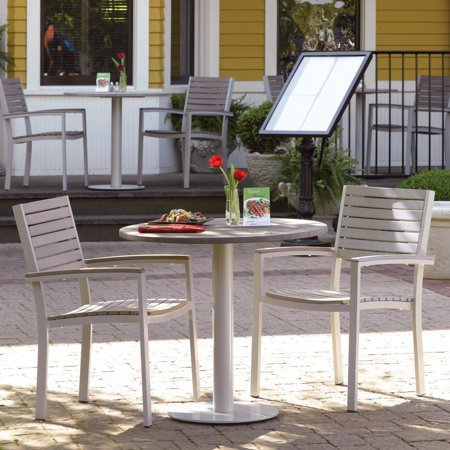 Travira 3 Piece Tekwood Vintage Patio Bistro Set W/ 32 Inch Round Table & Stacking Chairs ()