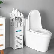 UBesGoo 3 Tier Modern Bathroom Storage Cabinet Cupboard Wooden Slim Shelf Bathroom Furniture White