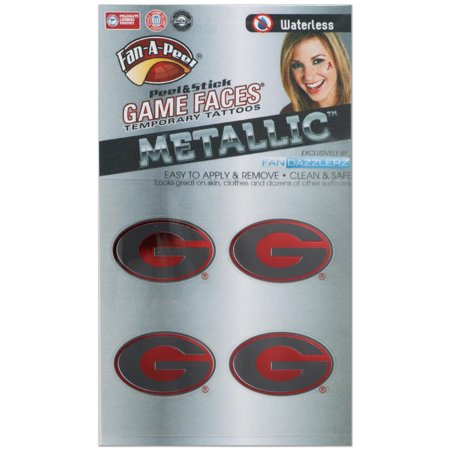 Georgia Bulldogs Game Faces Metallic Tattoo
