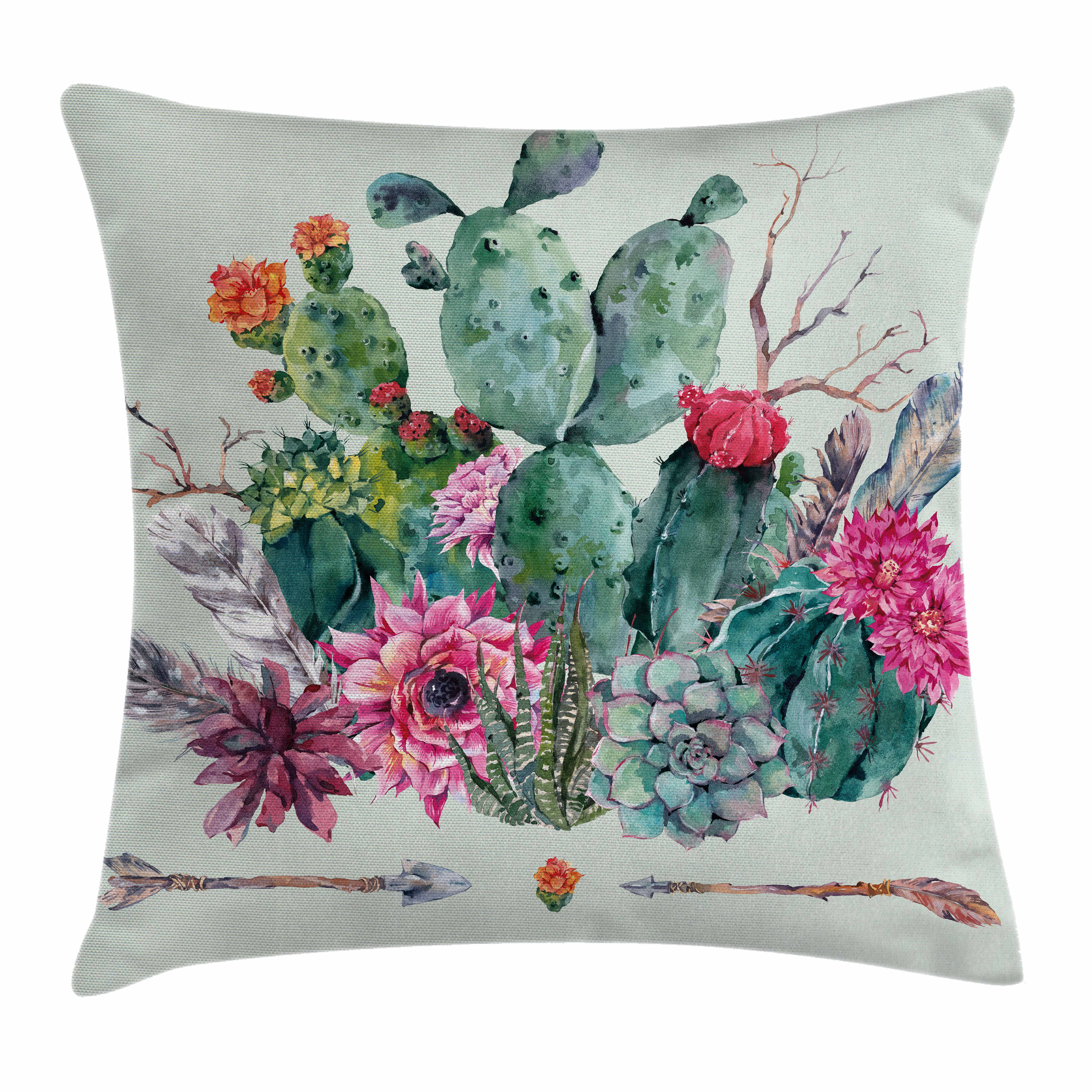 Cactus Decor Throw Pillow Cushion Cover, Spring Garden with Boho Style Bouquet of Thorny Plants Blooms Arrows Feathers, Decorative Square Accent Pillow Case, 16 X 16 Inches, Multicolor, by Ambesonne