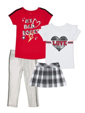 Garanimals Baby Girls & Toddler Girls Graphic Tees, French Terry Pants & Plaid Skirt, 4pc Outfit Set (12M-5T)