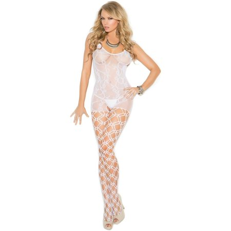 Elegant Moments EM-1656 Crochet bodystocking with open crotch White / O/S - image 1 of 1