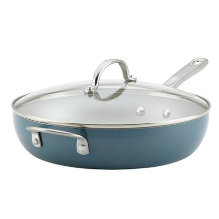 Ayesha Curry Home 12u0022 Collection Porcelain Enamel Nonstick Covered Deep Skillet With Helper Handle