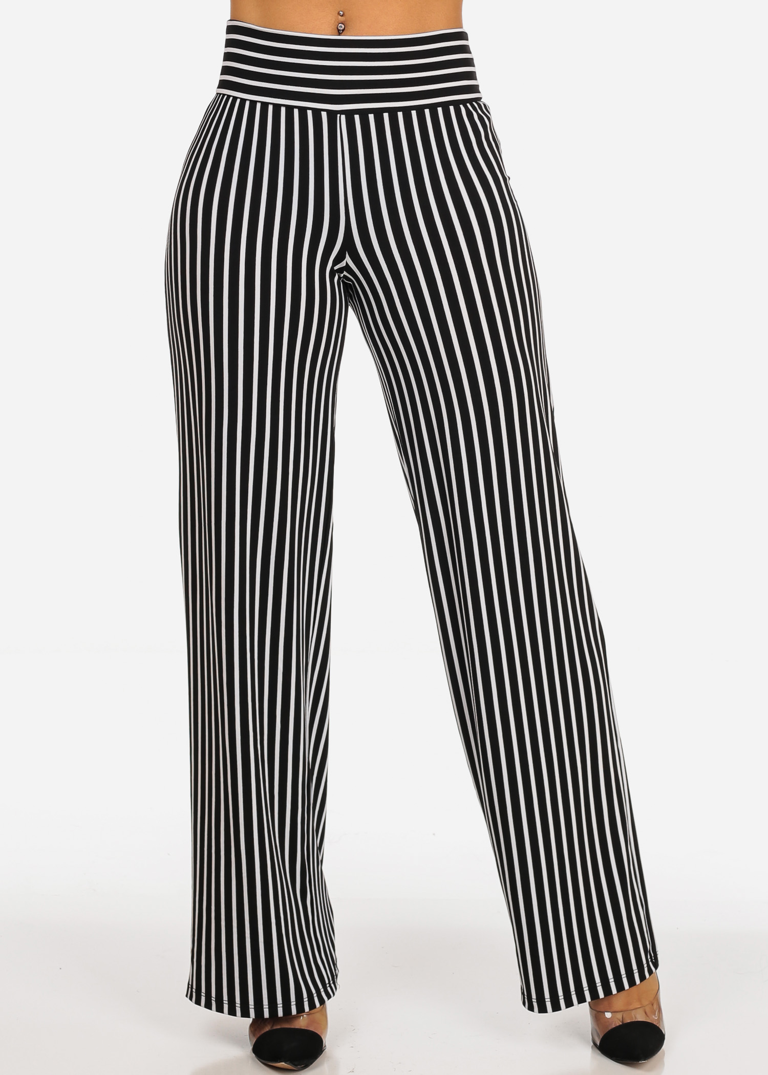 Womens Juniors Casual Stylish Stretchy Pull-On High Rise Black Striped Print Pants 40920U