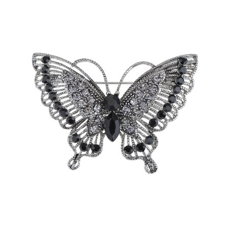 Antique Brooch - Antique-Inspired Violet Silver Tone Crystal Rhinestones Butterfly Pin Brooch