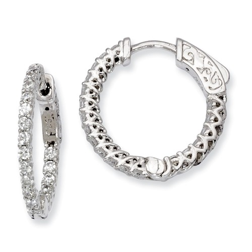 Sterling Silver Rhodium Plated with CZ 0.6IN Hinged Hoop Earrings (0.6IN x 0.7IN )
