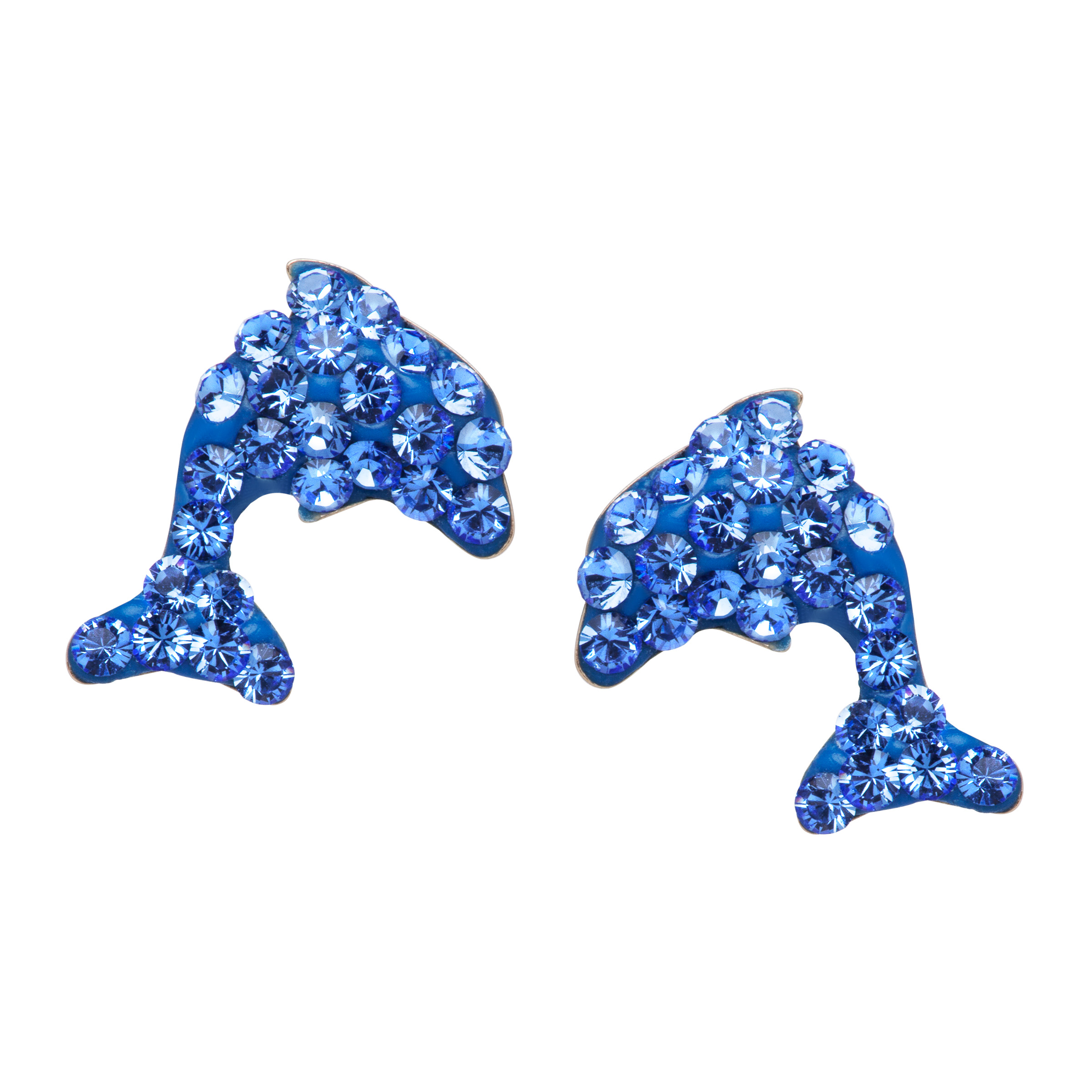 Crystaluxe Dolphin Stud Earrings with Blue Swarovski Crystals in 10kt Gold