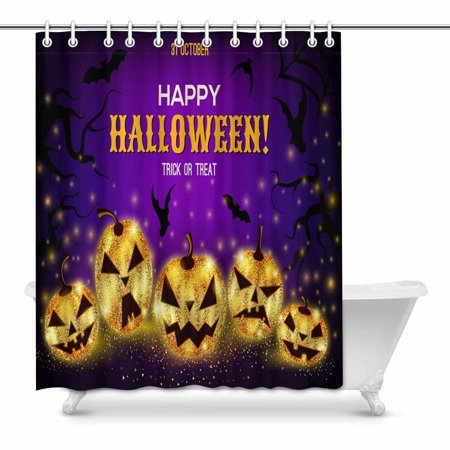 POP Halloween Shiny Gold Pumpkins with Different Faces Bathroom Decor Shower Curtain Set 60x72 inch - image 1 of 1