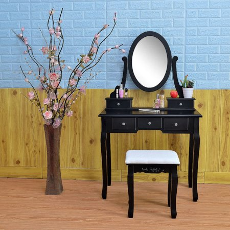 Zimtown Vanity Set Makeup Dressing Table Oval Mirror Dresser 5 Drawers & 1 Stool Wood Black ()