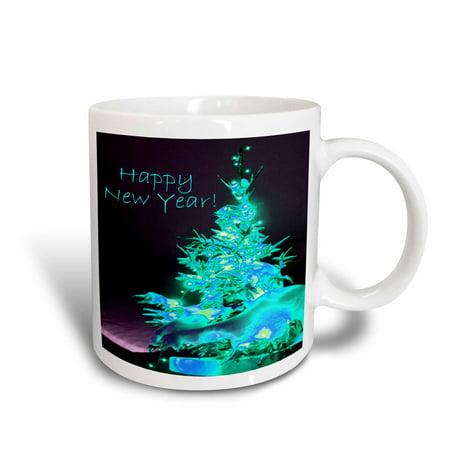 Hoppy Ice - 3dRose Pretty Christmas Tree Happy New Year in Ice Blue With Light Blue Text, Ceramic Mug, 11-ounce