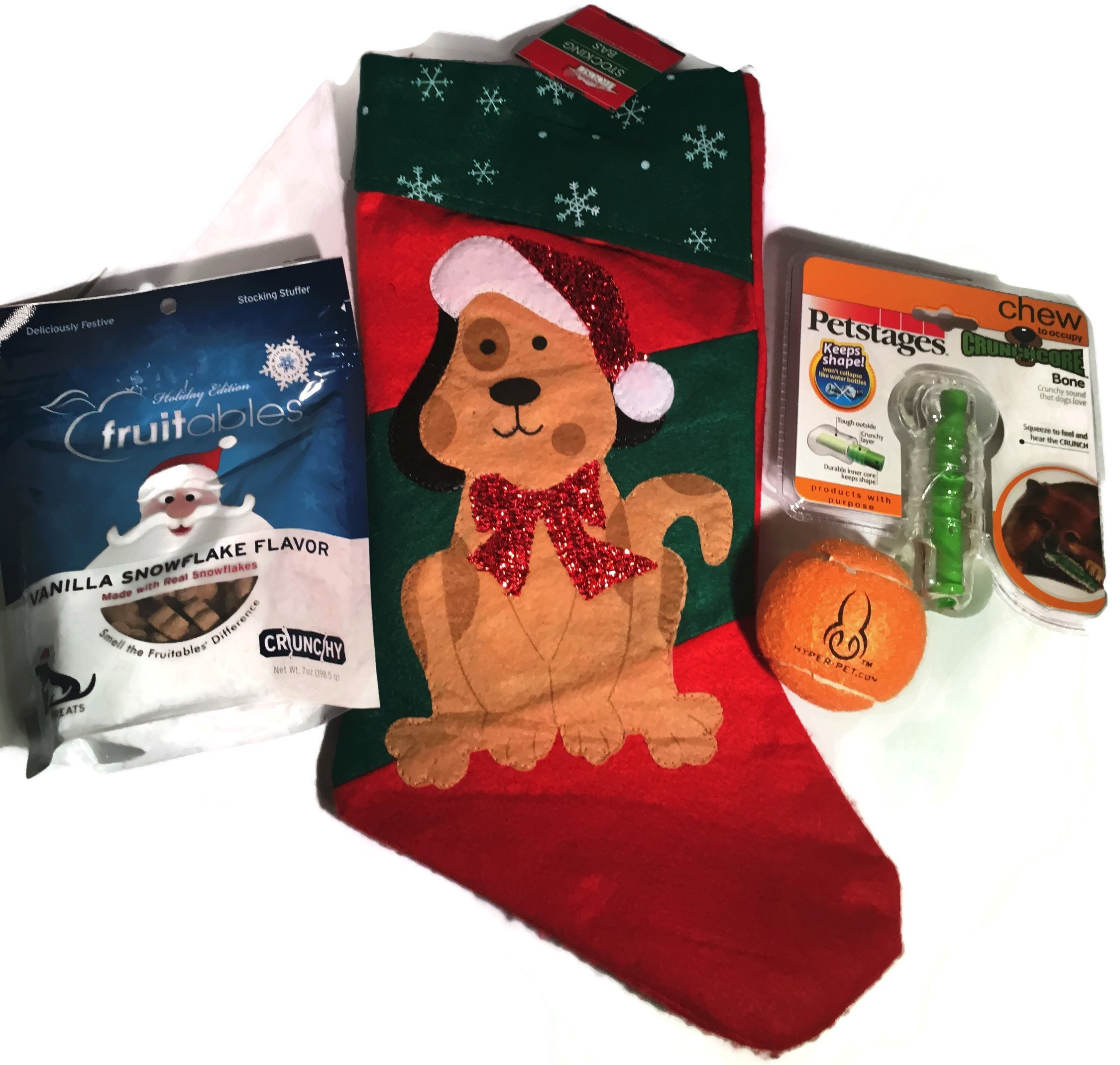 Dog Christmas Stocking filled with PetStages CRUNCHCORE b...