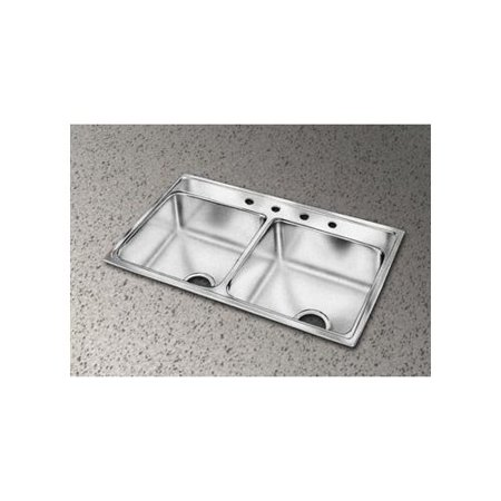 "Elkay LR3722 Gourmet 37"" Double Basin Drop In Stainless Steel Kitchen Sink"