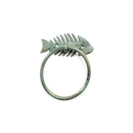 Antique Seaworn Bronze Cast Iron Fish Bone Towel Holder 5.5