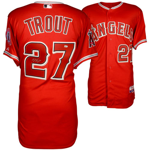 Mike Trout Los Angeles Angels Autographed Majestic Authentic Scarlet Jersey