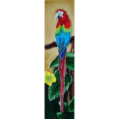 Continental Art Center Parrot with Beige Background Tile Wall Decor