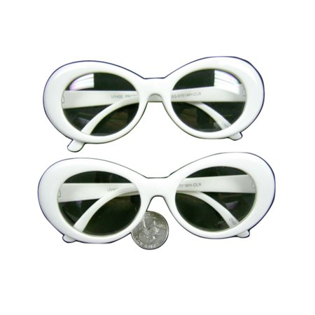 Kurt Cobain White Clear Lens Sunglasses Nirvana Jackie O Onassis Kennedy Round - Coffin Glasses